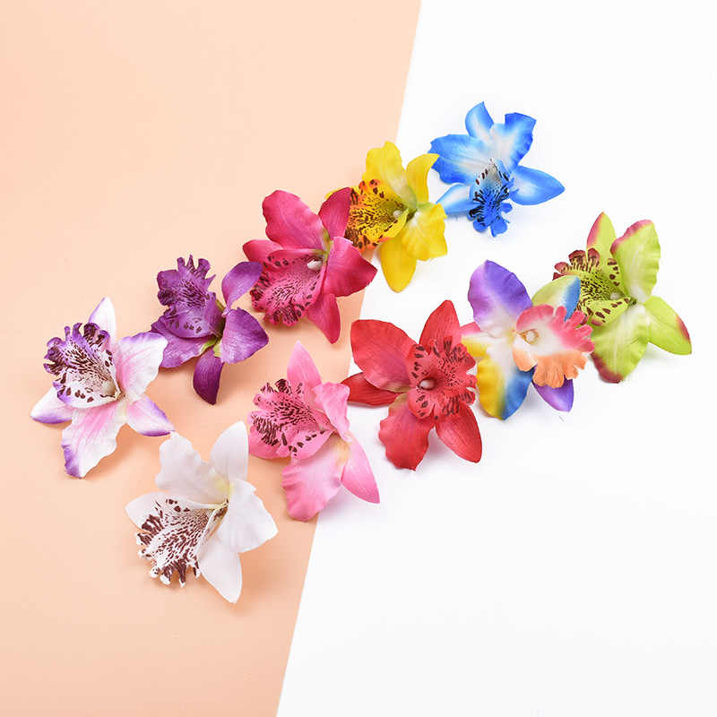 6/10 Pieces Artificial flowers cheap Silk Butterfly orchid home decoration accessories brooch diy Christmas wreath fake plants