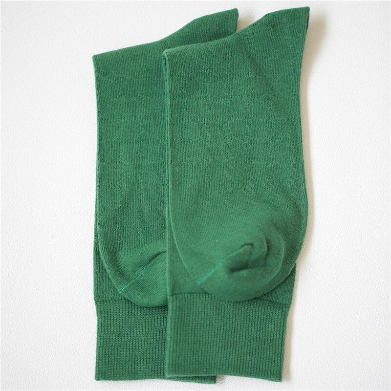 New Cotton Men Crew Socks Green Solid Color Fashion Autumn Winter Male Socks, 1 Pair