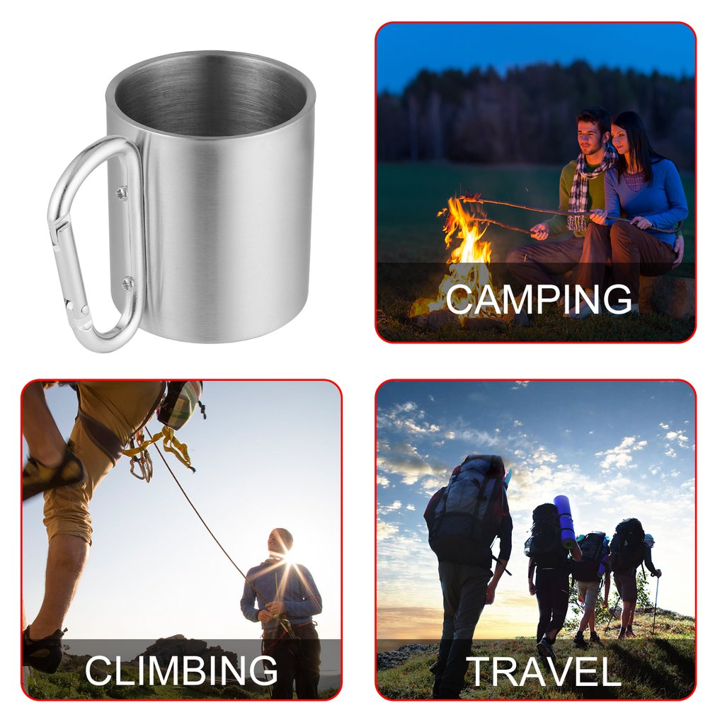 Stainless Steel Cup With Carabiner Hook Handle Camping Travel Hot//cold Beverage