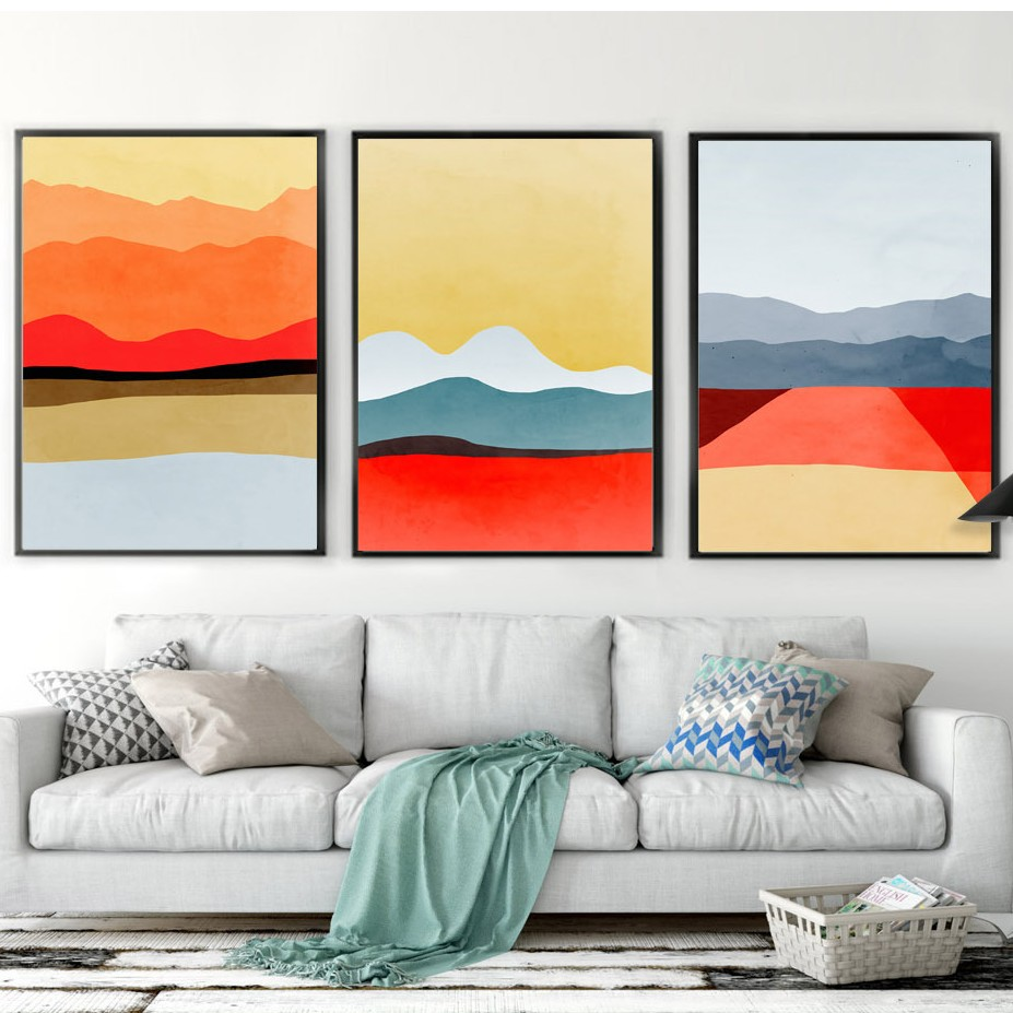 Nordic Decoration Abstract Simple Mountain Posters and Prints multicolor  oil Painting Wall Paintings For Living Room No Frame