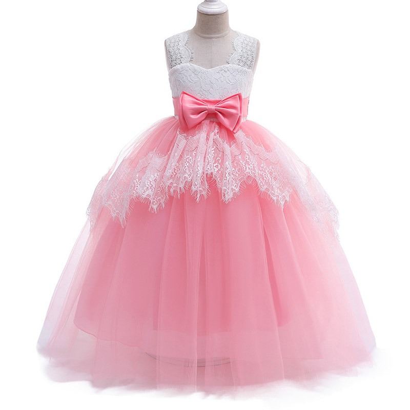 Teens long evening wedding elegant   flower     girl     dresses   kids elegant clothing first communion princess lace   dress   baby ostume