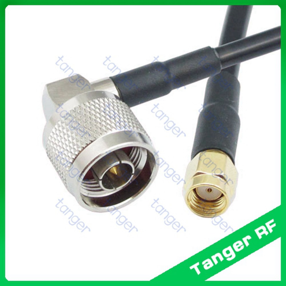 Hot sale Tanger N male plug right angle to RP-SMA male connector RF RG58  Pigtail Jumper Coaxial Cable 3feet 100cm High Quality