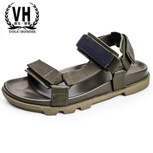 купить Mens sandals leather casual beach shoes Korean version trend breathable hollowed Roman shoes thick bottom outdoor anti-skid дешево