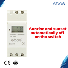 OBOS automatic adjustment time difference 24V digital electronic timer with 16times on off per day time set range 1min-168H tanie tanio Mini BS26W Timer Switch with sunrise sunset automatic adjust setting time 86*36*36 24VDC 90 -110 50 60Hz 16times per day weekly