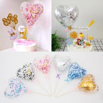 Globos de confeti de látex con forma de corazón, 1 pieza, 5 pulgadas, decoración de oro para pastel, Decoración de Pastel, fiesta, decoración de boda, Baby Shower, cumpleaños