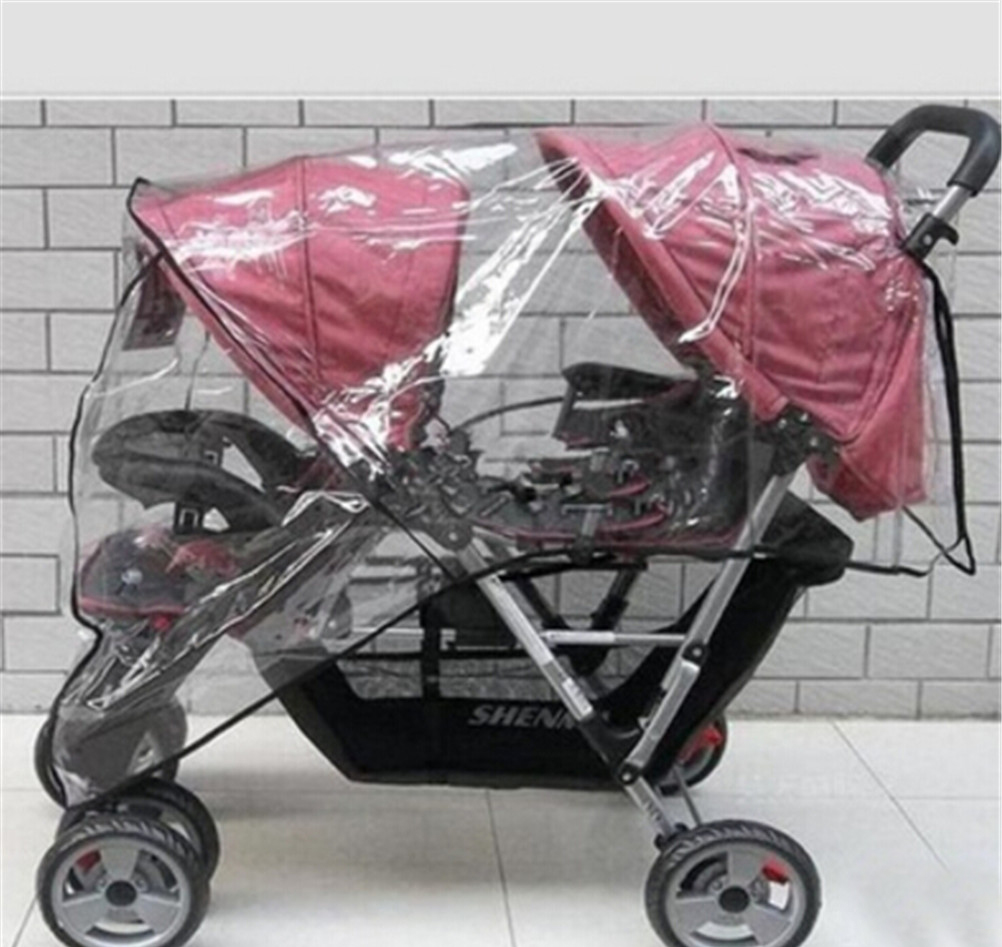 Stroller Rain Cover Twin Babies Cart stroller umbrella Universal Waterproof Front and Rear Rain Wind Cover