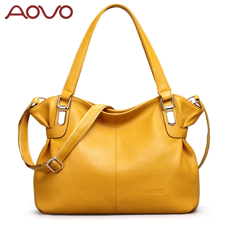 Beautiful Yellow 100 First Layer of Genuine Cow Leather bag Fashion shoulder messenger bag Brand Elegant