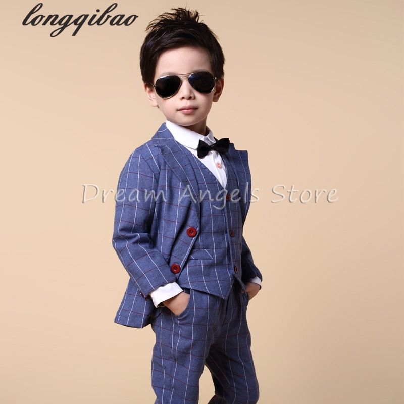 ФОТО Blazers for boys Spring Kids Clothes Suit formal Plaid Coat +Vest+Pants 3pcs Set Boys Wedding Suit 3-10Y boys suits for wedding