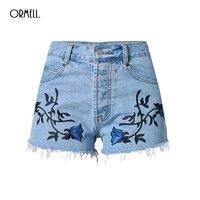 Free Shipping Hot High Waist Stretch Denim Shorts New Summer Flower Embroidery Casual Women Jeans Short