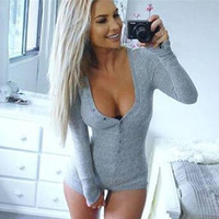 2016 New Long Sleeve Deep V Neck Solid Button Warm Siamese Tight Shorts For Women Sleep