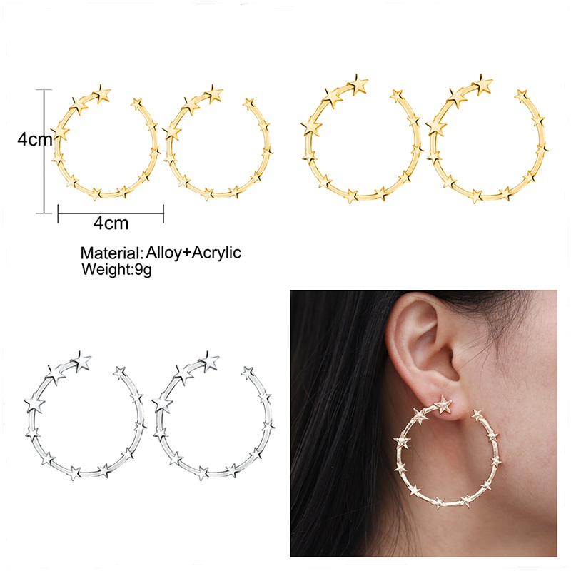 Gothic Punk Luxury Alloy Gold Silver Big Circle Hoop Earrings With Stars For Women Female Ear Accessories Exquisite Jewelry
