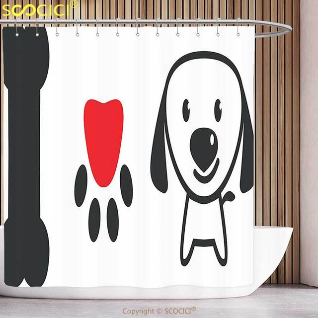 Cool Shower Curtain Dog Lover Decor Collection Bone Pup Paw With