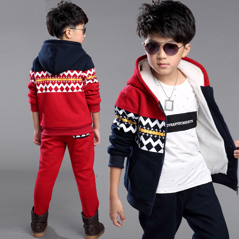 New Fall// Winter Tracksuit Kid Child Velvet Clothes Set Boys Hooded Suit Outfits