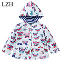 LZH 2016 Spring Autumn Girls Raincoat Coat Butterfly Print Hooded Girls Windbreaker Jacket Kids Outerwear Coat Children Clothes