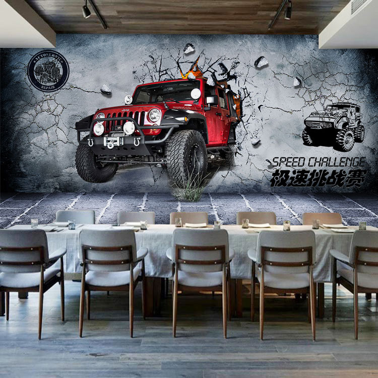 Free Shipping 3D Stereo Gray Brick Wall Car Mural Wallpaper Restaurant Race  Track Bar Cafe Personality Wallpaper Part 53