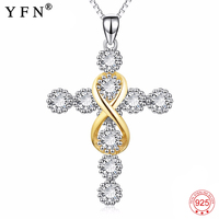 925 Sterling Silver Necklace Crystal Necklace Religious Cross Pendants Necklaces Infinity Love Fashion Jewelry For Women PYX0418