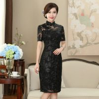 Traditional Mini Lace Dress Women's Black Cheongsam Size S to 3XL