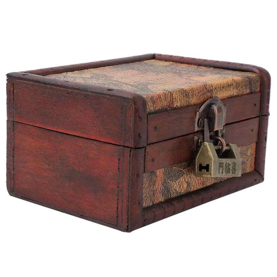กล่องขนมปังลิ้นชัก Vintage ไม้เครื่องประดับสร้อยคอกล่องใส่คอนเทนเนอร์ตกแต่งบ้านด้วย Lock กล่อง