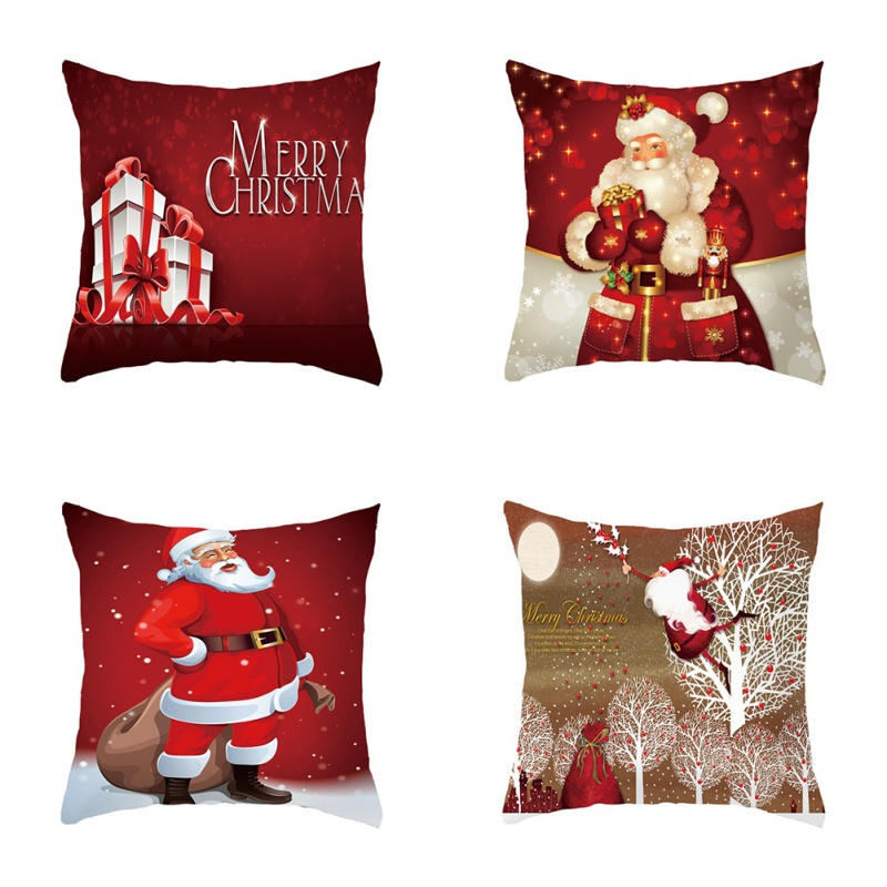 Xmas Style Cotton Linen Pillowcase Cover Merry Christmas Santa Claus Home Rome Decorative Pillows Nordic Happy New Year Gift W1