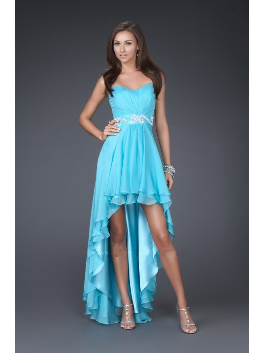 Blue/Pink/White High Low Bridesmaid Dresses 2017 Sweetheart A Line ...