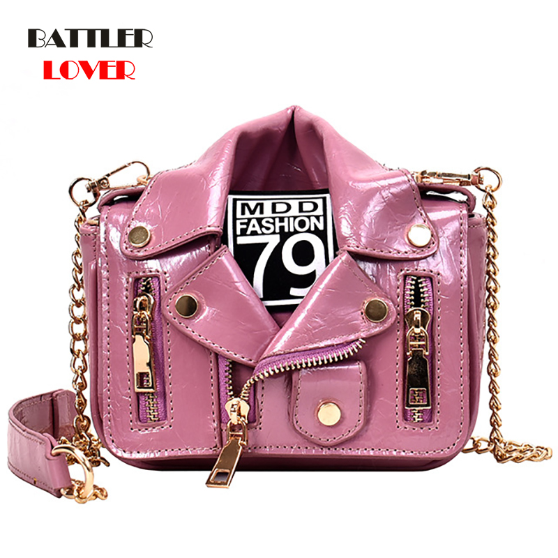 European Brand Design Chain Motorcycle Bags Women Clothing Shoulder Rivet Zipper Jacket Bag Messenger Leather Handbags