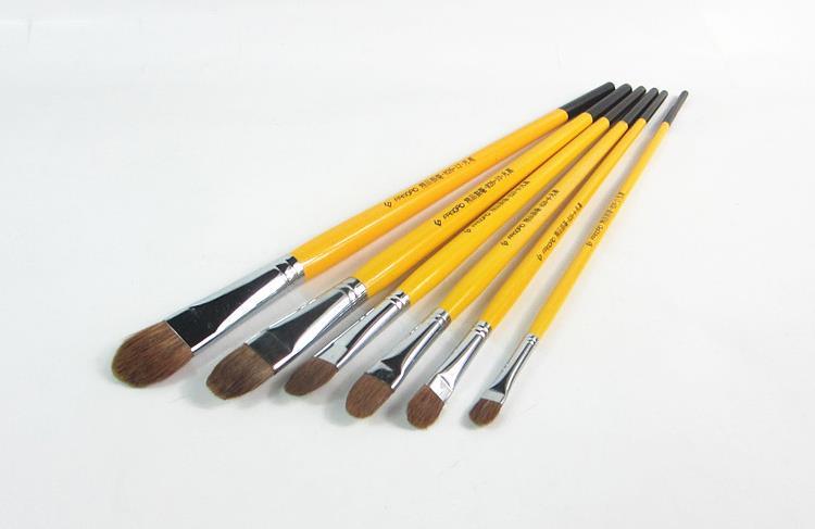 6pcs/Set,Van Gogh Weasel Hair Brush Gouache Watercolor Painting Pen Acrylics Oil Brush Painting Brush In Paint Brushes