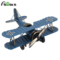 Home Decoration Creative Metal Plane Model Iron Retro Aircraft Glider Biplane Pendant Airplane Model Toy Biplane
