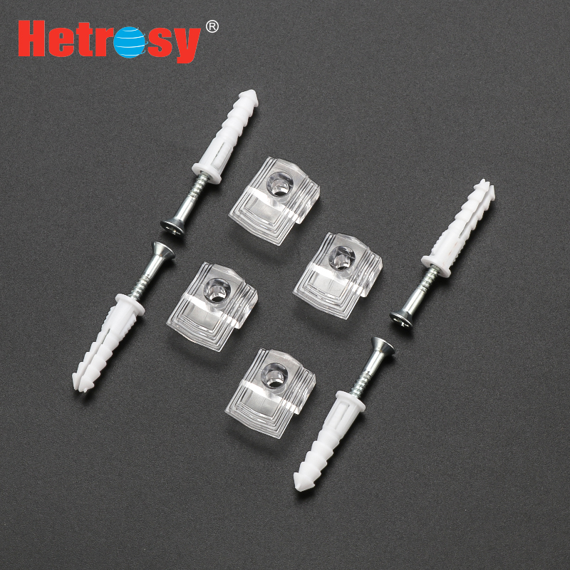Hetrosy Hardware 3MM/6MM Plastic Mirror Clips Glass Holder Frame Clamp Clip Screw Mount Shelf Clamps Package 6PCS