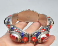 China's Tibet dynasty palace cloisonne silver inlaid Fine Stone bracelet NER060 t fine jewe 5.25