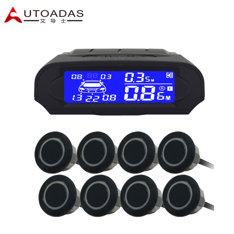 imágenes para AUTOADAS 8080 sistema de aparcamiento con 8 sensores LCD azul impermeable 18.5mm de aparcamiento sensor de aparcamiento