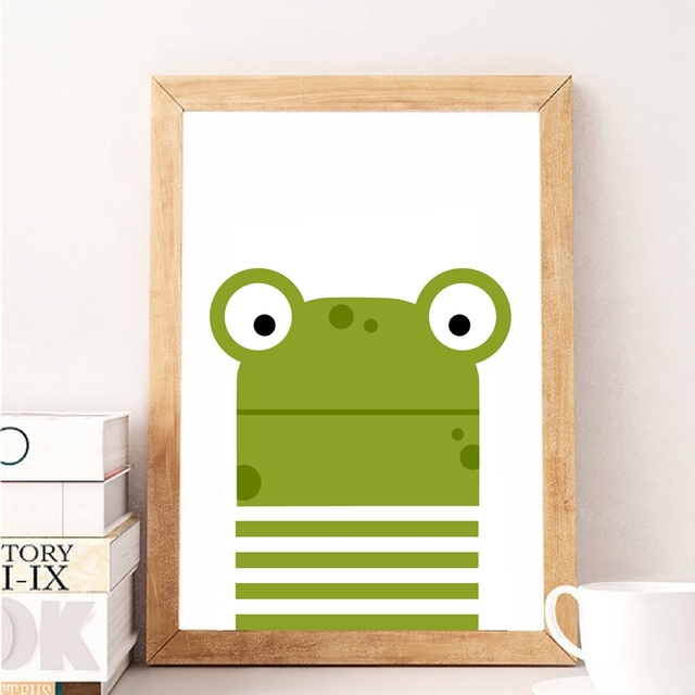 Cartoon Animal Frog Canvas Painting Nursery Art Decor Wall Picture ...