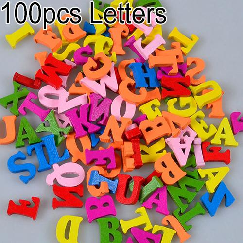 100Pcs Colorful Letters Numbers Wooden Flatback Embellishments Crafts Tool