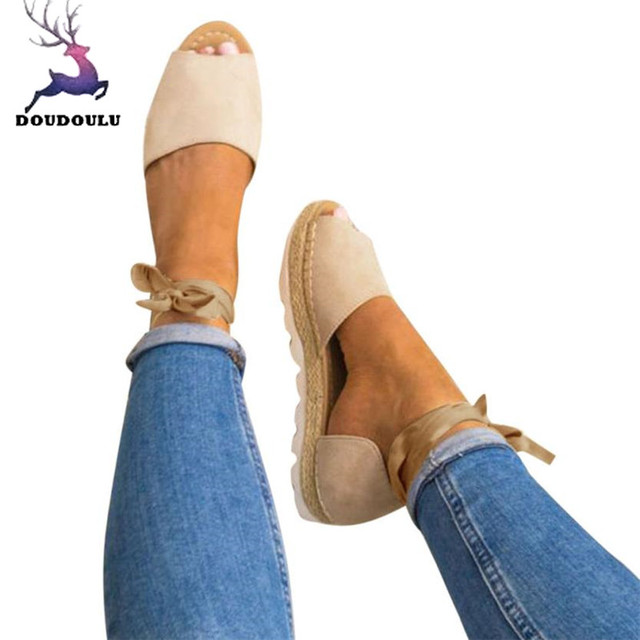 6a2bd18da6 2018 New Women Shoes Ladies Flat Lace Up Espadrilles Summer Chunky Holiday  Sandals Shoes Woman Sandalias