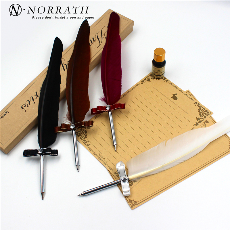 NORRATH Stationery Feather Gift Balpen Luxe pennen Veren Balpen Schoolspullen Kantooraccessoires