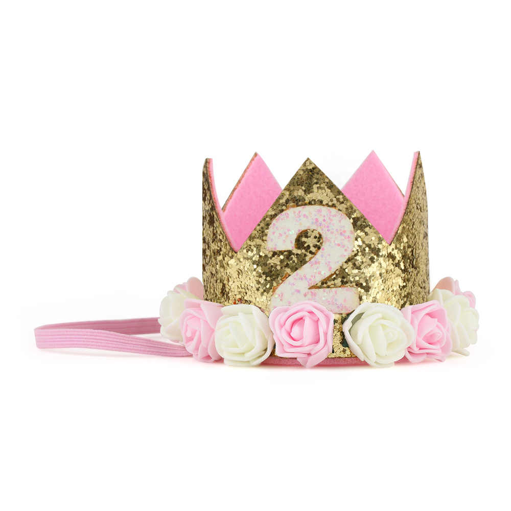 8a2a2f3887f ... Baby Girl First Birthday Decor Flower Party Cap Crown Headband 1 2 3  Year Number Priness ...