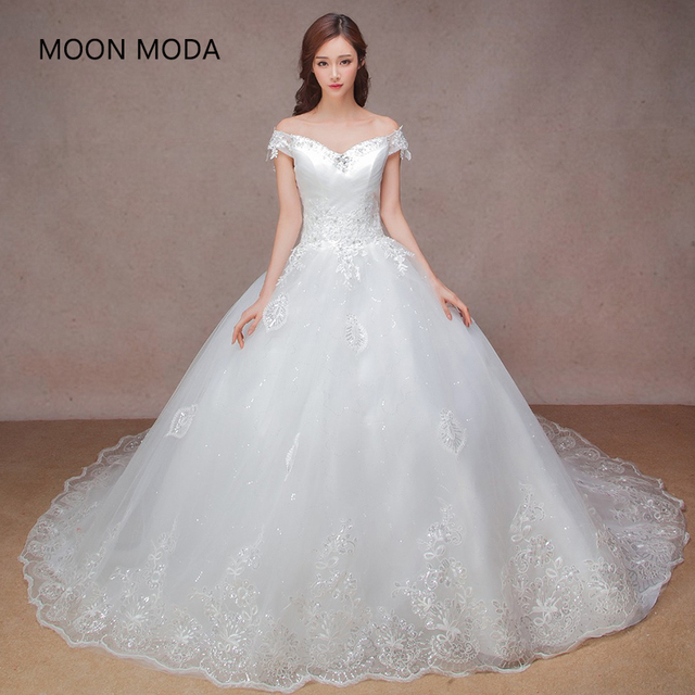 Luxury Ball Gown Wedding Dress With Cathedral Train Long Tail Bling 2017 New Arrival Strapless
