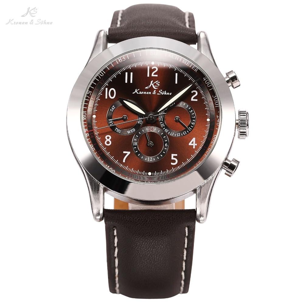 Ks Navigator Series Luxury Male Clock Relojes Automatic Mechanical Calendar Mens Wrap Gift Push Button Clasp Watch / KS125