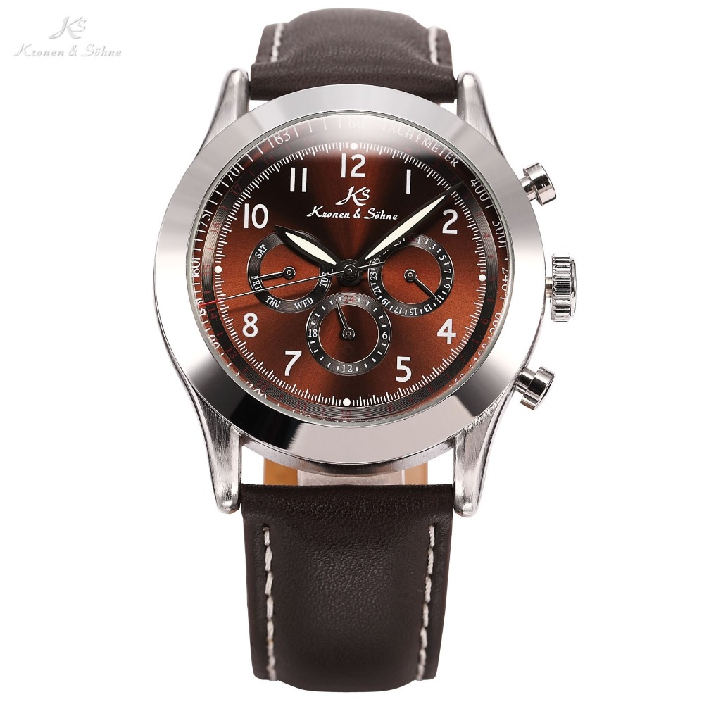 Ks Navigator Series Luxury Male Clock Relojes Automatic Mechanical Calendar Mens Wrap Gift Push Button Clasp Watch / KS125