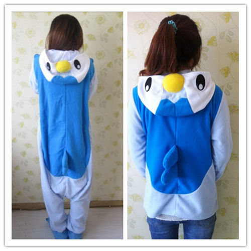 eaaad9909dd7 Anime Pokemon Blue Penguin Piplup Cosplay Hooded Pajamas Hoodie Adult Women  Men Unisex Fleece Onesie Party Costumes Halloween