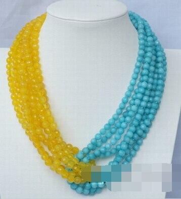 066096c83eb9 Aliexpress.com  Comprar Jew2462 6 strds amarillo y azul jade ...