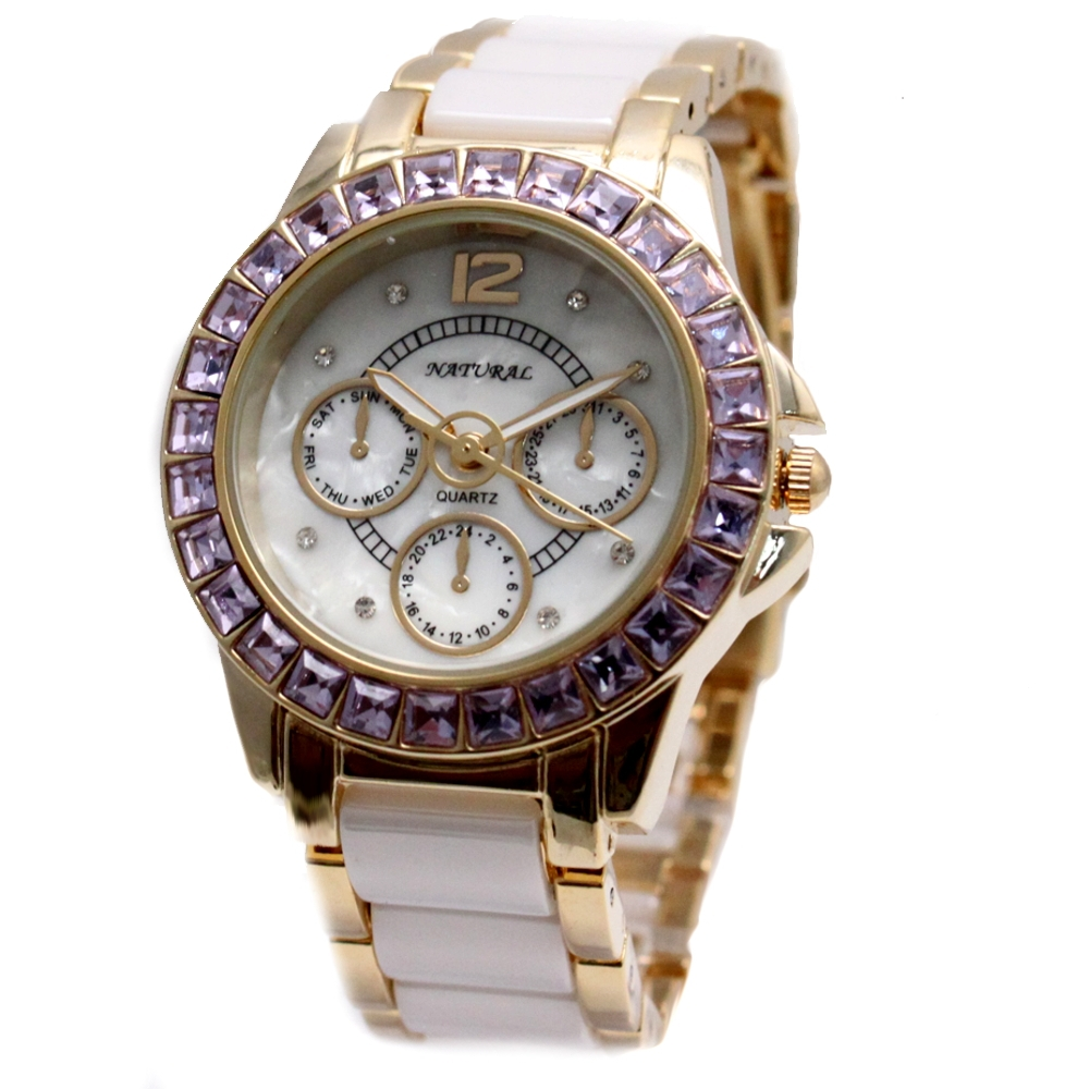 Alexis Brand Silver White Shell Dial  Violet Crystal Ceramic Water Resistant Bracelet Watch women Ladies watches horloge dames natural brand new gold ceramic watches shell white dial water resistant rose crystal ladies bracelet watch fw830v free gift box