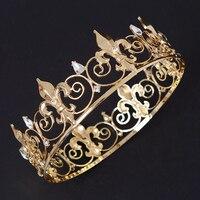 Baroque Vintage Big Gold Silver Metal Prom King Queen Crown Rhinestone Full Round Circle Wedding Tiara