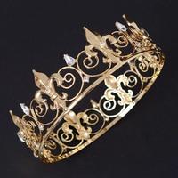 Barroco de La Vendimia Grande de Metal de Baile Rey Reina Corona Rhinestone Completo Redondo del Círculo de La Boda Tiara Nupcial Accesorios Para el Cabello De La Novia