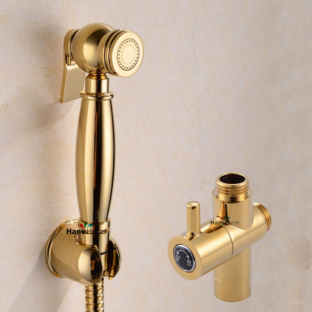 Gold Bathroom Bidet Sprayer Brass Muslim Shower Tap Shattaf Douche Kit with 2 Way Diverter Valve