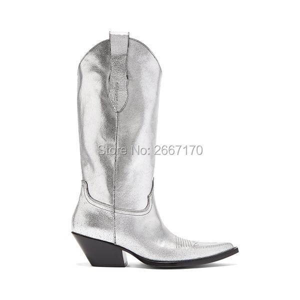 boy On Superbe En Blanc Pic Cubain Élégant Cow Talon Femme Femmes Bottes Pointu as Noir Argent Slip Empilés Pic Bout As De Western Cuir Chaussures 4qpC4