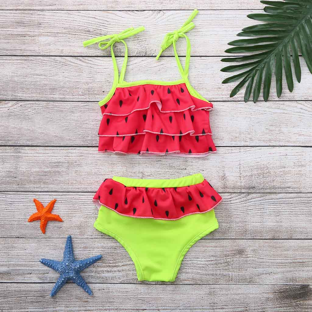 Swimwear Devoted 2019 Szyadeou Toddler Kids Girl Swimwear Watermelon Printed Layered Summerbow Bikini Sling Swimsuit Beach Set Cocuk Mayo F1