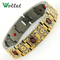 2014 Wide Titanium 4 In 1 Magnetic Womens Gold Plated Bracelet Crystal