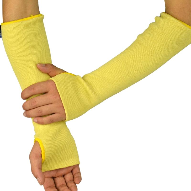 auksinis geltonas megztas rankos alkūnė ir rankos, nesužeidžiančios 36–45 cm pluošto, apsaugančios rankovę nuo sunkumų dirbant aplinkoje