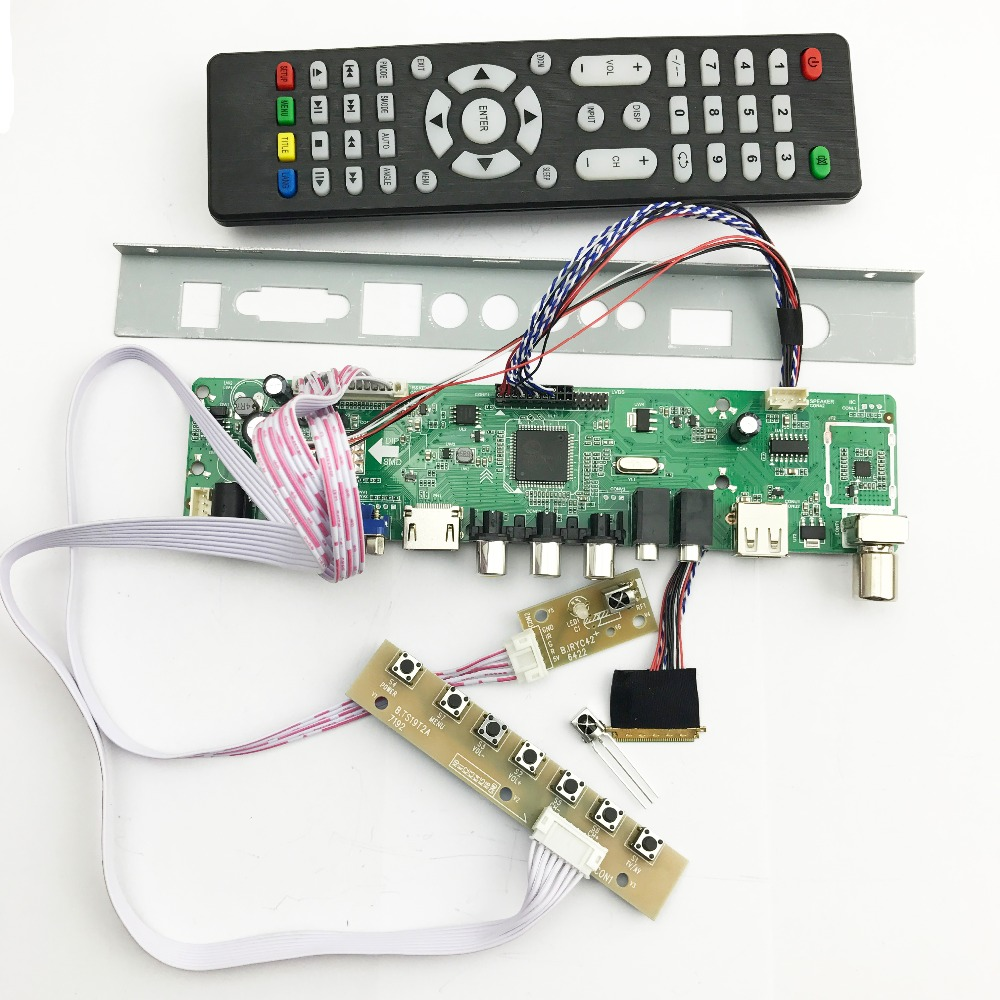 v56 Universal LCD TV Controller Driver Board PC/VGA/HDMI/USB Interface with 40P lvds cable 1ch-6 bit keypad 561416