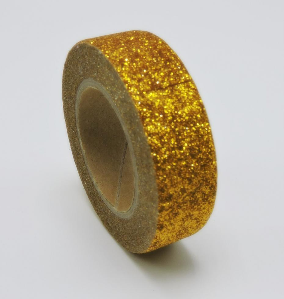 New Arrival Adhesive Golden Really Glitter Washi Tape Scrapbooking Christmas Party Kawaii Cute Decorative Paper Crafts Hot Sale